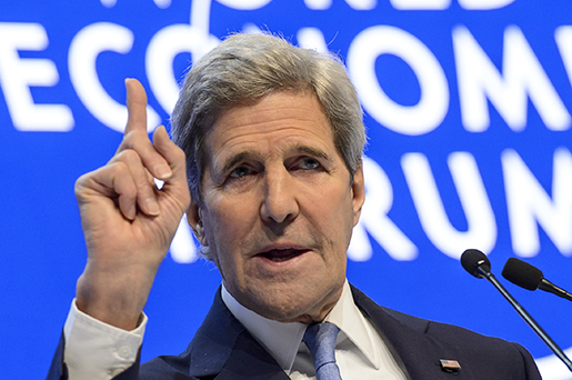 US Secretary of State John Kerry speaks during a panel session at the 46th Annual Meeting of the World Economic Forum, WEF, in Davos, Switzerland, Friday, Jan. 22, 2016. Kerry took aim Friday at government corruption, saying it fuels crime, violent extremism and disillusionment with society that contributes to the global refugee crisis. (Jean-Christophe Bott/Keystone via AP)