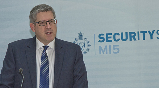 "This image made available on Thursday Jan. 8. 2015 by Britain's MI5 Security Service shows an undated image of Andrew Parker the Director General of Britainís domestic security service MI5. in a rare public speech, Britain's top domestic spy chief Thursday, Jan. 8, 2015 called the Paris attacks ""a terrible reminder"" that some ""wish us harm"" and said the evolving terror threat has become more complex because of events in Syria. (AP Photo/MI5 Security Service)"