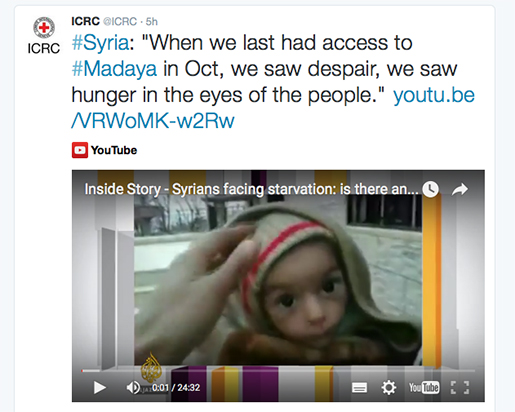 Internationella Rödakorskommittén har slagit larm om svält i staden Madaya. Foto: Skärmdump/Twitter