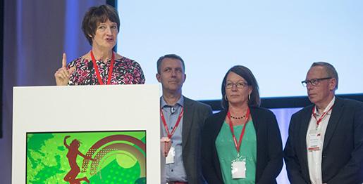 STOCKHOLM 20130529 Kommunals kongress Fˆrbundsordfˆrande Annelie Nordstrˆm efter valet. Foto: Leif R Jansson / SCANPIX / Kod 10020