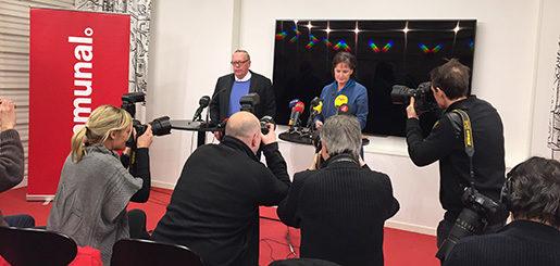 Anders Bergström och Annelie Nordström på Kommunals presskonferens Foto: Carl von Scheele