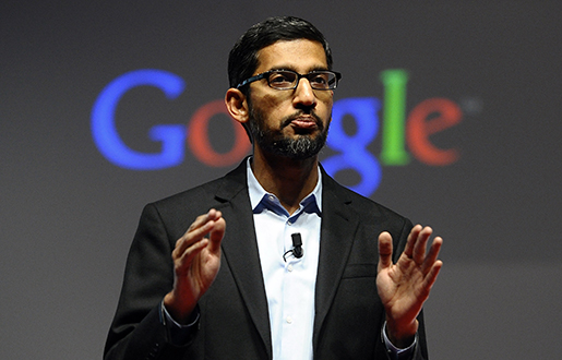 "FILE - In this Monday, March 2, 2015 file photo, Sundar Pichai, senior vice president of Android, Chrome and Apps, talks during a conference during the Mobile World Congress, the world's largest mobile phone trade show in Barcelona, Spain. Google is creating a new company ""Alphabet"" to oversee its highly lucrative Internet business and a growing flock of other ventures, including some Û like building self-driving cars and researching ways to prolong human life Û that are known more for their ambition than for turning an immediate profit. Google CEO and co-founder Larry Page will be CEO of the new holding company, while longtime Google executive Sundar Pichai will become CEO of Google's core business, including its search engine, online advertising operation and YouTube video service. (AP Photo/Manu Fernandez, File)"