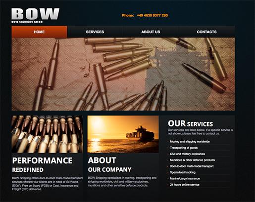 Det dansk-tyska bolaget Bow Shippings hemsida. Foto: Skärmdump