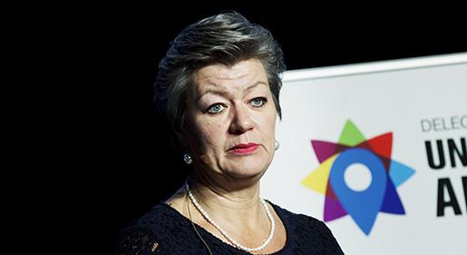 Ylva Johansson vill se mer samarbete mellan AF, kommuner och landsting för att kunna matcha sökanden mot extratjänster. Foto: Stina Gullander/TT