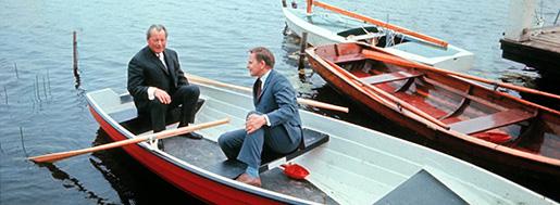 1970-tal: Olof Palme med Västtysklands förbundskansler Willy Brandt i Harpsundsekan. En ny bok undersöker hur Palmes anda syns i utrikespolitiken. Foto: Pressens bild