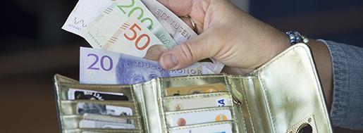 STOCKHOLM 20151002 PlÂnbok med de nya svenska sedlarna och nÂgra kreditkort och betalkort. Foto: Fredrik Sandberg / TT / Kod 10080