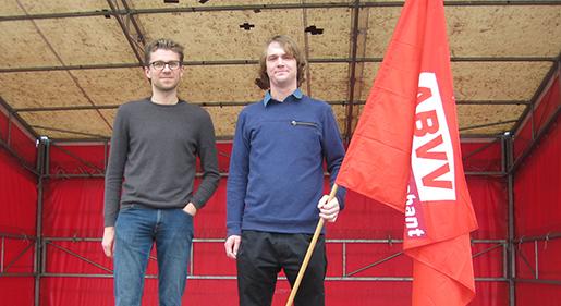 Jeff Jonckers och Thomas Gijselaar betonar att det är en utmaning att få ungdomar att ta fackliga uppdrag. Foto: Bengt Rolfers