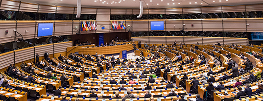 Members of European Parliament discuss anti-terrorism measures during a plenary session at the European Parliament in Brussels on Wednesday, Jan. 28, 2015. (AP Photo/Geert Vanden Wijngaert)