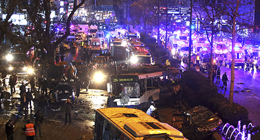 ALTERNATIVE CROP OF ANK108. Members of emergency services work at the scene of an explosion in Ankara, Turkey, Sunday, March 13, 2016.The explosion is believed to have been caused by a car bomb that went off close to bus stops. News reports say the large explosion in the capital has caused several casualties. (Riza Ozel/ Hurriyet Daily via AP) TURKEY OUT