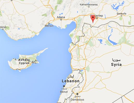 Kilis ligger nära gränsen till Syrien. Foto: Google Maps