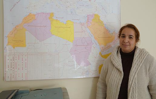 På världsfacket IFS kontor i Amman håller Hind Benammar och hennes kolleger koll på utvecklingen för fack och arbetsmarknad i hela arabvärlden. Foto: Erik Larsson