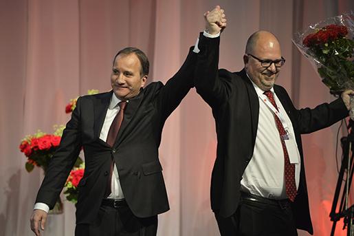 VƒSTER≈S 20150531 Statsminister Stefan Lˆfven och LO:s ordfˆrande Karl-Petter Thorwaldsson psocialdemokraternas kongress 2015 i V‰sterÂs. Foto: Henrik Montgomery / TT / kod:10060