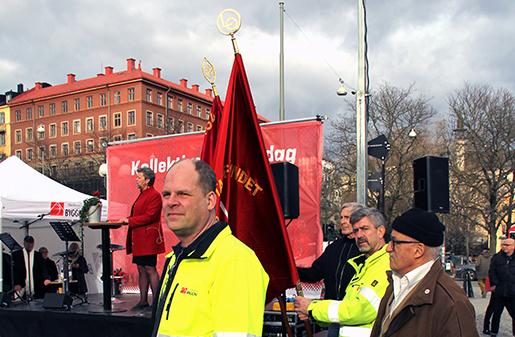 Lars Holmström, ordförande Byggnads Stockholm Gotland och i bakgrunden Ylva Johansson, arbetsmarknadsminister. Foto: Inger Fagerberg