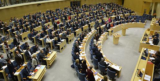 STOCKHOLM 20141103 Plenisalen under onsdagens debatt om budgetmotioner och -proposition i riksdagen. Foto: Henrik Montgomery / TT kod 10060