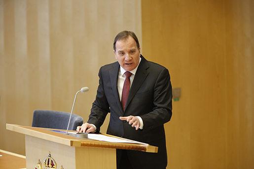 STOCKHOLM 20160316 Statsminister Stefan Lˆfven i talarstolen under onsdagens debatt i riksdagen om jobben. Foto: Christine Olsson / TT / Kod 10430