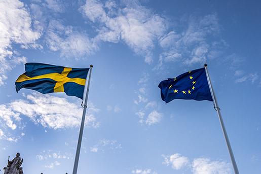 STOCKHOLM 20151110 Svenska flaggan och EU-flaggan Foto: Lars Pehrson / SvD / TT / Kod 30152 ** OUT DN och Dagens Industri (‰ven arkiv) och Metro **