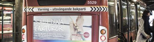 STOCKHOLM 2015-09-09 Reklam pSL-bussar fˆr Marginalen Bank Foto: Daniella Backlund / SvD / TT / kod 30585 ** OUT DN och Dagens Industri (‰ven arkiv) och Metro **