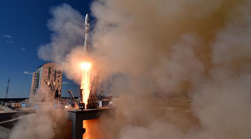 En rysk Soyuz-raket tog två satelliter upp i omloppsbana. Foto: Kirill Kudryavtsev/Pool Photo via AP