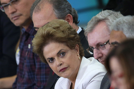 Brazil's President Dilma Rousseff attends a ceremony focusing on education at Planalto presidential palace in Brasilia, Brazil, Tuesday, April 12, 2016.  Rousseff on Tuesday called her Vice President Michel Temer the ìhead of the conspiracyî that seeks to remove her from office in her most direct attack on him so far. (AP Photo/Eraldo Peres)