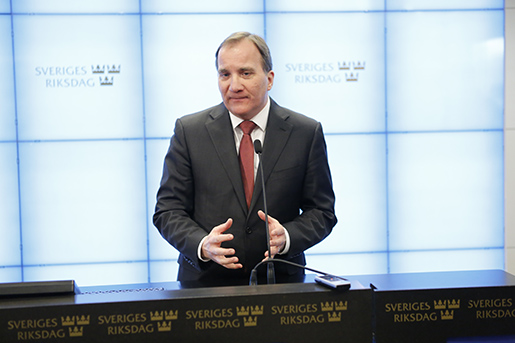 STOCKHOLM 20160316 Statsminister Stefan Lˆfven (S) hÂller presskonferens efter onsdagens debatt i riksdagen om jobben. Foto: Christine Olsson / TT / Kod 10430