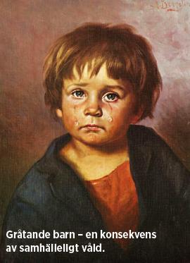 Gråtande barn – en konsekvens av samhälleligt våld. Foto: Gråtande barn Signerat G. Bragolin