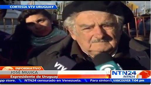 Jose Mujica är irriterad på Venezuelas president. Foto: Skärmdump