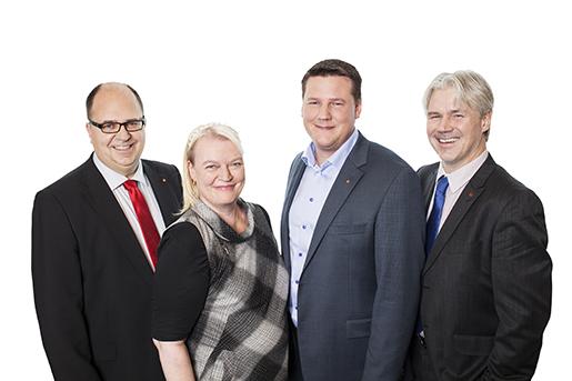 LO:s nuvarande ledning. Karl-Petter Thorwaldsson (ordförande), Ingela Edlund (andre vice ordförande), Tobias Baudin (förste vice ordförande) och Torbjörn Johansson (avtalssekreterare). Pressbild.