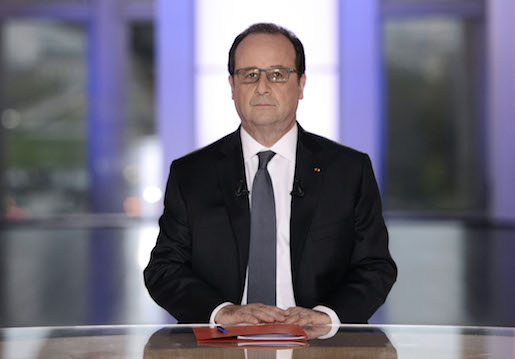 French President Francois Hollande answers poses prior to a debate on national television in Paris, France, Thursday, April 14, 2016. French President Francois Hollande answers questions on national television from members of the public, as the unpopular president faces labor protests and questions about whether he'll run for re-election. (Stephane de Sakutin, Pool Photo via AP)