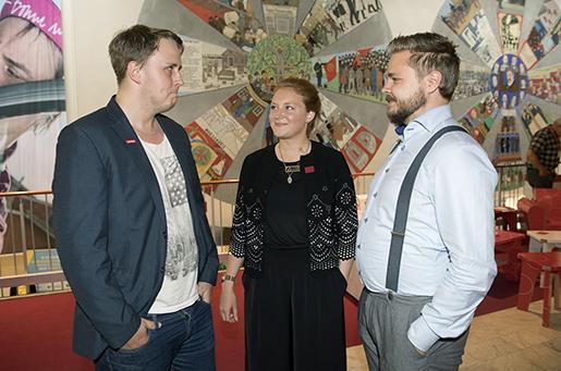 Jesper Kleifert, Kommunal, Kajsa Nordin, Handels och Anton Levein, Elektrikerna, tycker att ungdomars röster måste höras mer i LO.Foto: Maja Suslin/TT