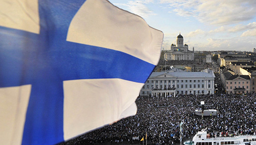 Over 90,000 thousand people celebrate Team Finland, ice hockey world champions 2011, in the Market Square in Helsinki, Finland, Monday May 16, 2011. Tens of thousands of flag-waving ice hockey fans gathered on the streets of the capital to welcome home Finland's world champions. Finland beat archrival Sweden 6-1 in the final on Sunday in Bratislava, Slovakia, to claim the Nordic country's second world championship. (AP Photo/Lehtikuva/Vesa Moilanen *** FINLAND OUT. NO THIRD PARTY SALES. ***