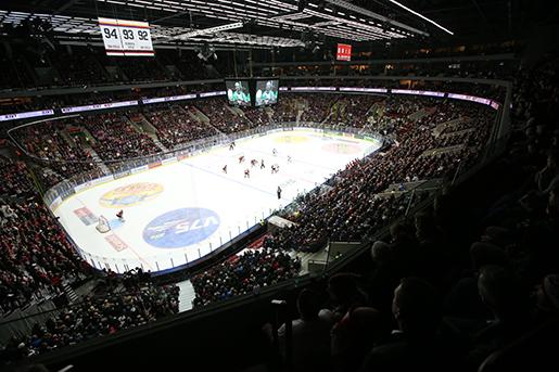 MALM÷ 2015-11-26 ÷versiktsbild ˆver rinken under torsdagens ishockeymatch i SHL mellan Malmˆ Redhawks och Rˆgle BK pMalmˆ Arena. Foto: Andreas Hillergren / TT / Kod 10600