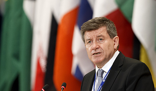 British Guy Ryder, General Director of the International Labor Organization, ILO, addresses his statement during the opening day of the 105th ILO annual conference at the European headquarters of the United Nations in Geneva, Switzerland, Monday, May 30, 2016. (Salvatore Di Nolfi/Keystone via AP)