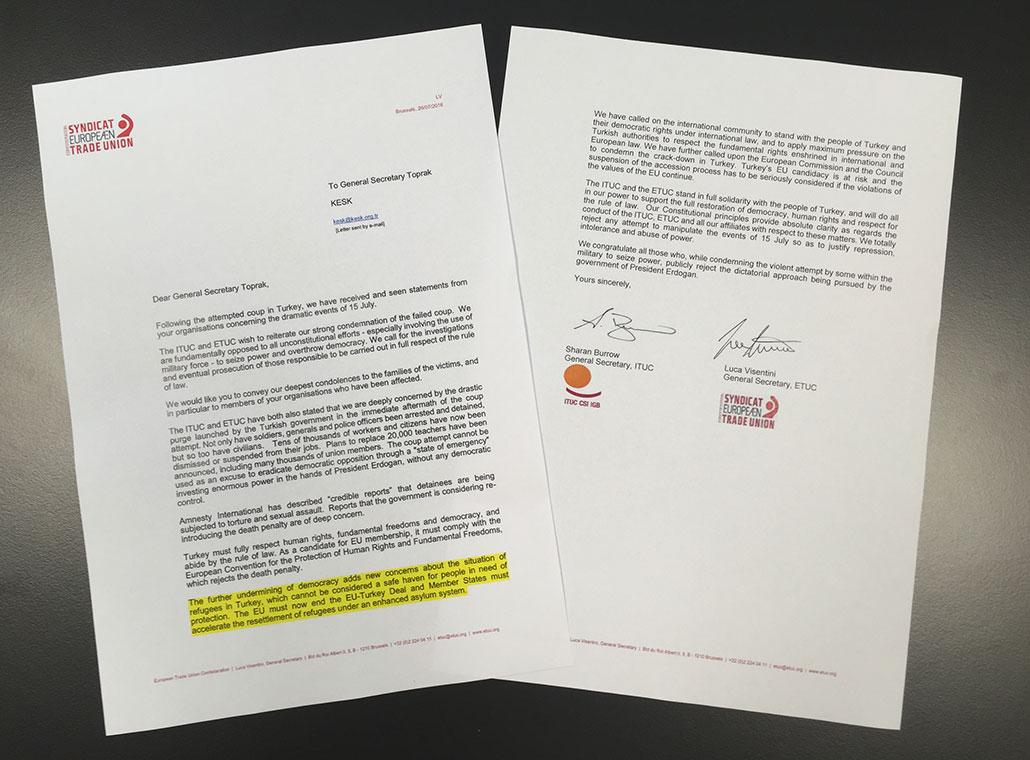 Brevet från Sharan Burrow, Världsfacket, och Luca Visentini, Europafacket, uttrycker oro för flyktingarnas situation i Turkiet efter kuppförsöket.