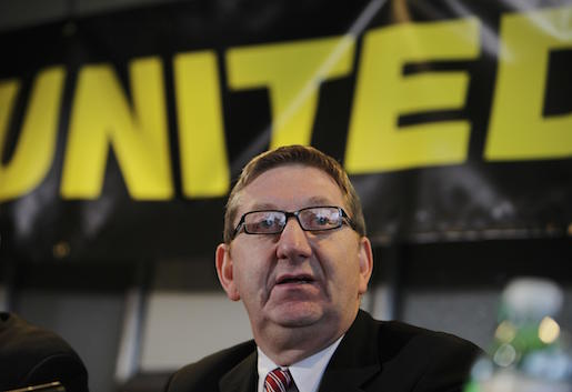 Len McCluskey, the assistant general secretary for Britain's Unite union talks to members of the media as he announces the British Airways cabin crew upcoming strikes, following a union meeting in Sandown, southwest London, Monday Dec. 14, 2009. British Airways cabin crews will strike over the Christmas period, their union said, throwing the plans of thousands of holiday-makers into uncertainty at one of the busiest times of the year. (AP Photo/Lefteris Pitarakis)