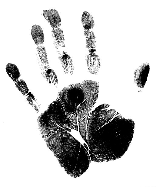 Imprint of a Human Hand with unique details