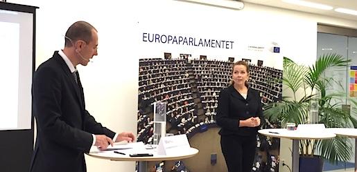 EU-parlamentarikern Cecilia Wikström (L) deltog, den 17 oktober 2016, i ett öppet samråd om revideringen av EU:s asylsystem. Foto: Erik Larsson