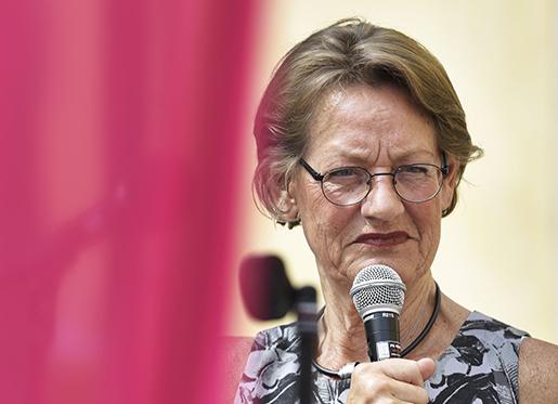 VISBY 2016-07-05 Gudrun Schyman talar pDonners plats i Almedalen 2016. Foto: Janerik Henriksson / TT / Kod 10010