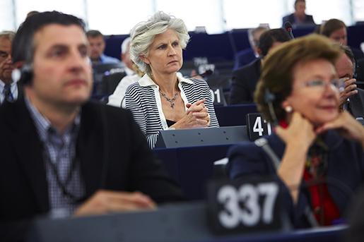 STRASBOURG 20140714 Anna-Maria Corazza Bildt (M) i EU-parlamentet i Strasbourg Foto: Fredrik Persson / TT / kod 75906