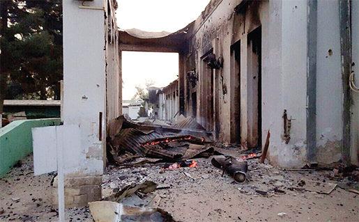 42 personer, däribland 14 biståndsarbetare, omkom när amerikanska plan av misstag bombade Läkare utan gränsers sjukhus i Kunduz, Afghanistan.Foto: Läkare utan gränser