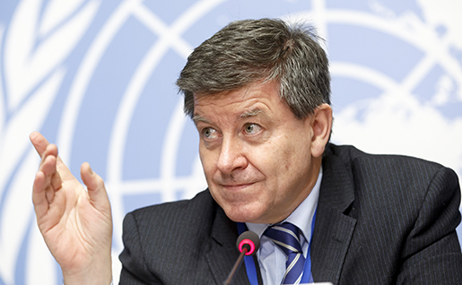 "British Guy Ryder, Director General of the International Labour Organisation, ILO, presents the new ILO report ""World Employment and Social Outlook - Trends 2016"", during a news conference at the European headquarters of the United Nations in Geneva, Switzerland, Tuesday, Jan. 19, 2016. (Salvatore Di Nolfi/Keystone via AP)"