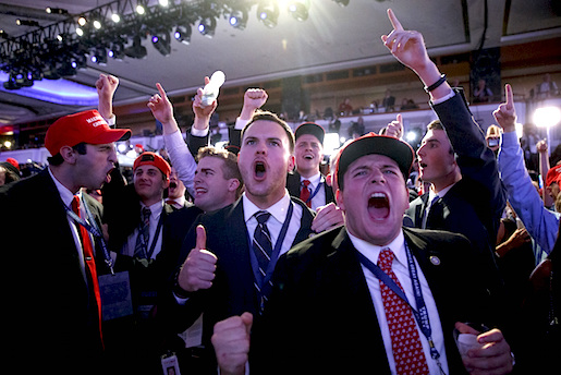 Supporters of President-elect Donald Trump cheer during as they watch election returns during an election night rally, Wednesday, Nov. 9, 2016, in New York. (AP Photo/ Evan Vucci)