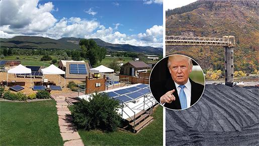 I stort sett intill varandra i Paonia vid Klippiga bergen ligger anläggningen som utbildar i solenergi och den stora kolgruvan. Hittills har Donald Trump stått på kolets sida. Foto: TT