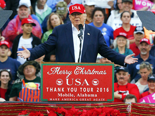 President-elect Donald Trump speaks during a rally at the LaddǃÏPeebles Stadium, Saturday, Dec. 17, 2016, in Mobile, Ala. (AP Photo/Brynn Anderson)