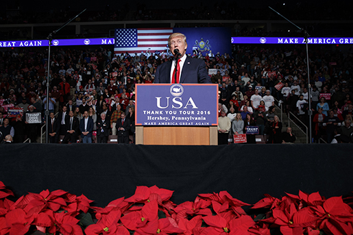 President-elect Donald Trump speaks during a rally at the Giant Center, Thursday, Dec. 15, 2016, in Hershey, Pa. (AP Photo/Evan Vucci)