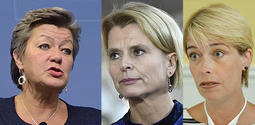 Ylva Johansson, Åsa Regnér och Annika Strandhäll. Foto: TT