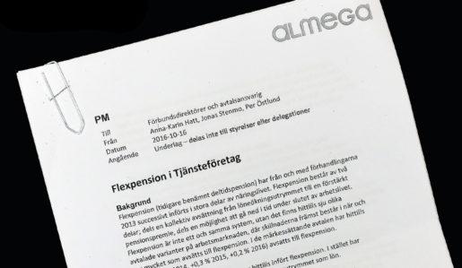 Klicka på bilden för att läsa hela det interna PM:et från Almega.