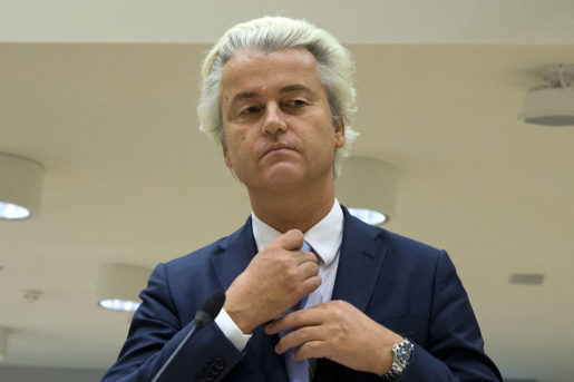 FILE - In this Wednesday, Nov. 23, 2016 file photo populist anti-Islam lawmaker Geert Wilders prepares to address judges at the high-security court near Schiphol Airport, Amsterdam. A Dutch court said Friday Dec. 9, 2016 that populist anti-Islam lawmaker Geert Wilders is guilty of hate speech charges. (AP Photo/Peter Dejong)