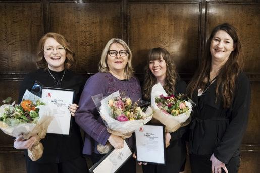 Kajsa Nordin, Eivor Schultz, Jenny Wrangborg och Susanna Gideonsson vid utdelningen av Handels kulturstipendier.Foto: Vilhelm Stokstad/TT