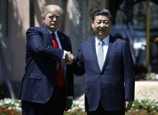 President Donald Trump and Chinese President Xi Jinping shake hands after a bilateral meeting at Mar-a-Lago, Friday, April 7, 2017, in Palm Beach, Fla. Trump was meeting again with his Chinese counterpart Friday, with U.S. missile strikes on Syria adding weight to his threat to act unilaterally against the nuclear weapons program of China's ally, North Korea.(AP Photo/Alex Brandon)