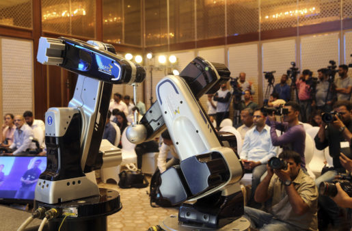 TAL Brabo robot is displayed during a press conference in Mumbai, India, Tuesday, April 11, 2017. TAL Manufacturing Solutions, a subsidiary of Tata Motors Ltd. on Tuesday launched two variants of the TAL Brabo, which they claimed was India's first industrial- articulated robot. (AP Photo/Rajanish Kakade)